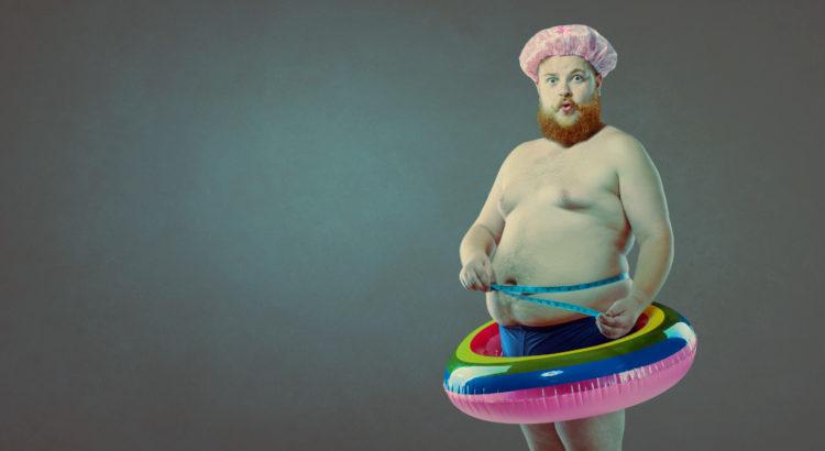 Adipositas dicker mann schwimmring